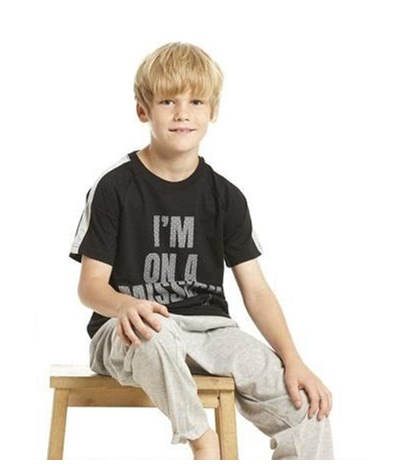 BOYS PYJAMA KNITTED TOP SHORT SLEEVES WITH KNITTED LONG PANTS
