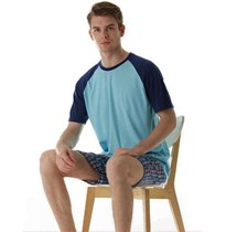 Mens knitted short sleeves with woven shorts