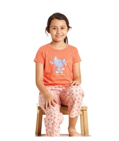 GIRLS PYJAMA KNITTED TOP SHORT SLEEVES WITH WOVEN LONG PANTS
